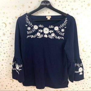 J. Crew | Navy White Embroidered Bell Sleeve Top